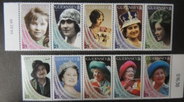 GUERNSEY 1999 QUEEN MOTHER LIFE AND TIMES SET OF 10 VALUES MNH SG817-826 ROYALTY - Guernsey