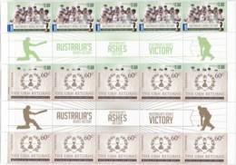 Australia 2014 Cricket International Stamps Gutters - 2010-... Elizabeth II