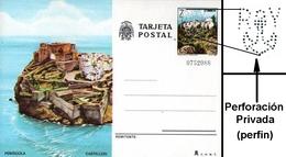 Tarjeta Entero Postal De Castellón Con Perforación Privada. - Enteros Postales