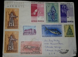 O) 1963 INDONESIA, ASIAN GAMES IV DJAKARTA-BICYCLE-DANCE-BALLET-RAMAYANA, LONG ARMED LOBSTER, AIRMAIL-POS UDARA,TO USA - Indonesia