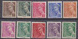 FRANCE - 1938/1941 - Lotto Di 10 Valori Nuovi MNH: Yvert 404/407, 409/413 E 414B - Unused Stamps