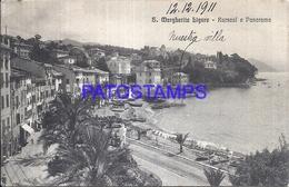110819 ITALY S. MARGHERITA LIGURE KURSAAL & PANORAMA BREAK CIRCULATED TO ARGENTINA POSTAL POSTCARD - Italie