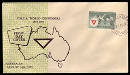 AUSTRALIA • 1955 • YMCA Centenary Mappin & Curran FDC • GRAVELLY BEACH, TASMANIA - Primo Giorno D'emissione (FDC)