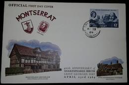 O) 1964 MONTSERRAT, SHAKESPEARE ISSUE-QUEEN ELIZABETH II, SAINT GEORGES-ANNE HATHAWAYS COTTAGE SHOTTERY, FDC XF - Montserrat