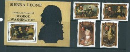 Sierra Leone 1982 George Washington Anniversary Set 4 & Miniature Sheet MNH - Sierra Leone (...-1960)
