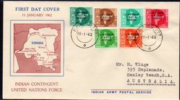 INDIA, 1962 FDC O/PRINTED FOR U.N. FORCE CONGO - Covers & Documents