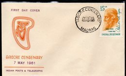 INDIA, 1961 TAGORE CENTENARY FDC - Covers & Documents