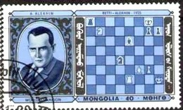 Chess Champions, Chessman, Alekhine, France, Mongolia Stamp SC#1562C Used - Mongolie