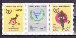 ECUADOR 1982 INTERNATIONAL YEAR OF DISABILITIES SET 3 MNH SC# 1020 C733-C734 - Equateur