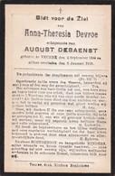 Veurne, 1918, Anna Devroe, Debaenst - Devotieprenten