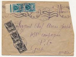 FRANCE => Enveloppe Envoyée En FM, Taxée Gerbes Des Deux Cotés, 20 Ex Du 10c, 2 Ex 20c - 1946 - Taxes