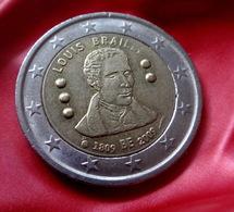 Belgium Belgio 2 Euro 2009 Louis Braille 200th Anniversary Of Birth KM# 288   CIRCULATED COIN - Belgien