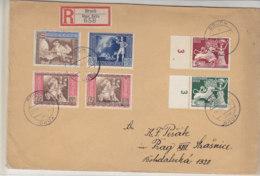 LANDPOST Grosser R-Brief Mit 6 Marken Aus BRUCH über BRÜX 18.11.42 Nach Prag - Briefe U. Dokumente