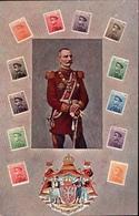 ! Alte Ansichtskarte König Peter I. Serbien, Serbia, Briefmarken, Wappen, Stamps - Familles Royales