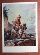 Vintage Russian Postcard 1957 Kyrgyz Rider On Horse. KIRGHIZIA Types Man Warrior Hunter. Bow Arrows. Artist Orlovsky - Kirghizistan