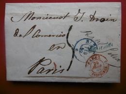 LETTRE BARCELONA VIA PARIS CACHET BARCELONA BLEU PERPIGNAN ESPAG ROUGE 1855 - Marcophilie (Lettres)
