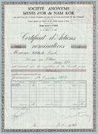 Indochine - Mines D'or De Nam Kok - Certificat D'actions Nominatives / 1963 - Asie