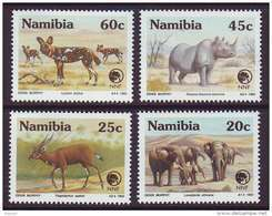 D101225 Namibia 1993 South West Africa WILD DOG ELEPHANT RHINO MNH Set - SWA Namibia Namibie - Namibië (1990- ...)