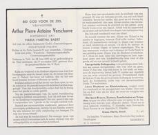 DOODSPRENTJE VERSCHUERE ARTHUR ECHTGENOOT BAERT TIELT (1895 - 1957) OUD-STRIJDER 1914 - 1918 - Images Religieuses