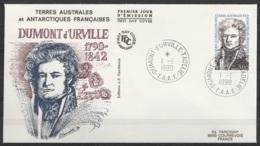 TAAF - Terre Adélie - FDC 152 Navigateur Dumont D'Urville Oblit. 1e Jour Dumont D'Urville 01-01-1990 - Terres Australes Et Antarctiques Françaises (TAAF)