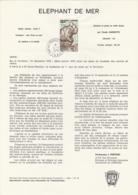 TAAF - Kerguelen - Notice N°PA55 - Faune: Eléphant De Mer Oblit. 1e Jour Port-aux-Français 12-04-1979 - Terres Australes Et Antarctiques Françaises (TAAF)