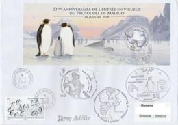 TAAF - Terre Adélie - MIDWINTER 2018 TA68 & Cachets Base Oblit Dumont D'Urville 21-6-2018 / Bloc Protocole De Madrid (en - Terres Australes Et Antarctiques Françaises (TAAF)