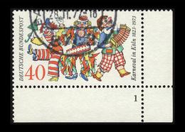 BRD 1972, Michel-Nr. 748, 150 Jahre Kölner Karneval, 30 Pf., Eckrand Unten Rechts Mit Formnummer 1, Gestempelt - Gebraucht
