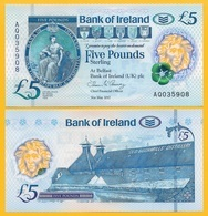 Northern Ireland 5 Pounds P-new 2017(2019) Bank Of Ireland UNC Banknote - Noord-Ierland