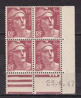 N° 716B Marianne De Gandon: Un Bloc De 4 Ttimbres Neuf Impeccable Sans Charnière Coins Datés 23.4.47 - Dated Corners