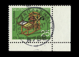 BRD 1972, Michel-Nr. 715, 175 Jahre Flachdruckverfahren, 25 Pf., Eckrand Unten Rechts, Gestempelt - Gebraucht