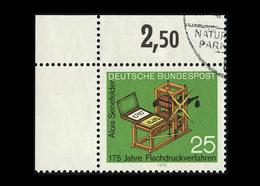 BRD 1972, Michel-Nr. 715, 175 Jahre Flachdruckverfahren, 25 Pf., Eckrand Oben Links, Gestempelt - Gebraucht