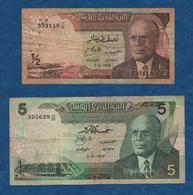TUNISIE-  3 08 1972 - 2 Billets ( 1/2 Et 5  Dinars )   Cat World - 66 Et 68   Circulés    Voir Scans - Tunisie