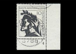 BRD 1971, Michel-Nr. 693, 650. Todestag Von Dante Alighieri, 10 Pf., Eckrand Unten Rechts Mit Formnummer 4, Gestempelt - Gebraucht