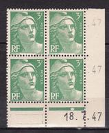 N° 716A Marianne De Gandon: Un Bloc De 4 Ttimbres Neuf Impeccable Sans Charnière Coins Datés 18.7.47 - Dated Corners