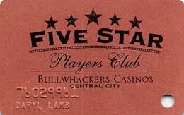 Bullwhackers Casino Central City, CO Bronze Slot Card - Black Reverse - Casino Cards