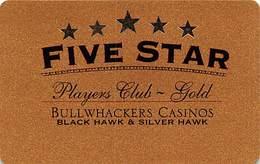 Bullwhackers Casino Black Hawk, CO Gold Slot Card - White Reverse & Uneven Margins BLANK - Casino Cards