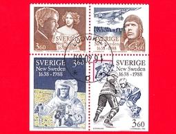 SVEZIA - Usato - 1988 - 350° Anniversario Di New Sweden - Sandburg - Lindbergh - Bean - Ice-hockey - 3.60 - Used Stamps