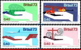 Ref. BR-1304-07 BRAZIL 1973 HEALTH, PROTECTION CAMPAIGN,FIRE,, AVIATION SAFETY,ART,MI# 1390-94,MNH 4V Sc# 1304-1307 - Feuerwehr