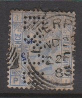 Great Britain SG 142 1880 2.5 Penny Blue,perfin, Used - 1840-1901 (Victoria)