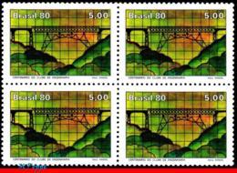 Ref. BR-1722-Q BRAZIL 1980 - ENGINEERING CLUB, CENT.,, BRIDGE, VIADUCT, BLOCK MNH, ARCHITECTURE 4V Sc# 1722 - Bridges
