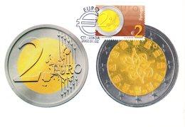 """"""" PIECE DE 2 € """" Sur Carte Maximum N°tée Du PORTUGAL De 2002. (Faciale = 2 €). CM - Monete"""