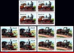 Ref. BR-1862-64Q BRAZIL 1983 RAILWAYS, TRAINS, LOCOMOTIVES,, MI# 1971-73, BLOCKS MNH 12V Sc# 1862-1864 - Trains