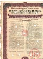 Republique Chinoise 5% Or Bond London 1925  Cina ORO Prestito Con Cedole Doc.286 - Azioni & Titoli