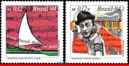 Ref. BR-2521-22 BRAZIL 1994 MUSIC, POPULAR MUSIC, DORIVAL, CAYMMI, ADONIRAN BARBOSA,MI#2627-28 MNH 2V Sc# 2521-2522 - Brasilien