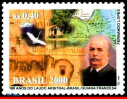 Ref. BR-2775 BRAZIL 2000 POLITICIANS, BRAZIL-GUIANA SETTLEMENT,, BIRDS, MAPS, MI# 3122, MNH 1V Sc# 2775 - Brésil