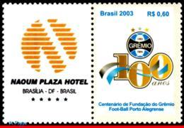 Ref. BR-2895A-4 BRAZIL 2003 FOOTBALL-SOCCER, CENTENARY OF GREMIO,, FAMOUS CLUBS, SPORT, PERSONALIZED MNH 1V Sc# 2895A - Brazil