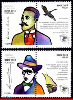Ref. BR-3225-26 BRAZIL 2012 - PORTUGAL,FAMOUS PEOPLE,, BIRD,SHIP,FER.PESSOA,CRUZ SOUZA,MNH, JOINT ISSUE 4V Sc# 3225-3226 - Barche