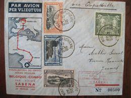Belgique 1935 Mont Sur Marchienne JUMET Service Aerien Par Avion Sabena Congo Lettre Enveloppe Cover Colonie Belege Reco - Poststempels/ Marcofilie