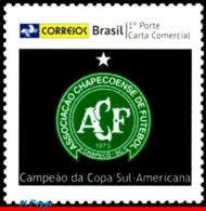 Ref. BR-V2017-01 BRAZIL 2017 FOOTBALL-SOCCER, CHAPECOENSE,SOUTH AMERICA, CUP CHAMPION, PERSONALIZED MNH 1V - Neufs