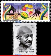 Ref. BR-V2018-07 BRAZIL 2018 DIPLOMATIC RELATIONS, WITH INDIA, ARCHITECTURE,, GANDHI, BIRDS, FRUITS, MNH 2V - Brésil